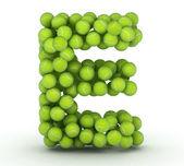 Letter E, tennis balls alphabet — Stock Photo