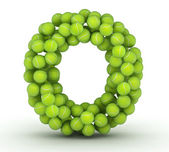 Letter O, tennis balls alphabet — Stock Photo