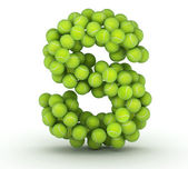 Letter S, tennis balls alphabet — Stock Photo