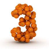 Number 3, basketball alphabet — ストック写真