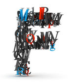 Letter F, alphabet from letters — Stock Photo