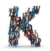 Letter K, alphabet from letters — ストック写真