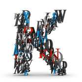 Letter K, alphabet from letters — Stock Photo