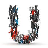 Litera u, alfabet od litery — Zdjęcie stockowe