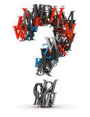 Hergestellt aus 3d buchstaben fragezeichen — Stockfoto