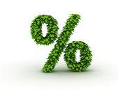 Yüzde simgesi, alfabe yeşil yaprak — Stok fotoğraf