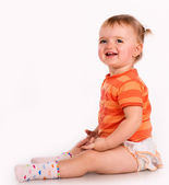 Pretty nice little girl. Close-up in the studio — Stock Photo