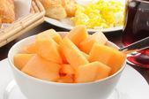 Bowl of cantaloupe — Stock Photo