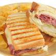 Roast beef and cheese panini closeup — Stock Photo