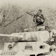 WW2 German Army soldiers and Tiger tank — Stock Photo
