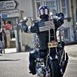 Biker with USA flag — Stock Photo #9062853