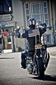 Biker with USA flag — Stock Photo