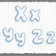 Vector sketch 3d alphabet letters - XYZ — Stock Vector