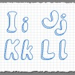 Vector sketch 3d alphabet letters - IJKL — Stock Vector