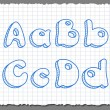 Vector sketch 3d alphabet letters - ABCD — Stock Vector
