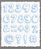 Hand-drawn numbers set. — Stock Vector