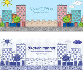Cityskape baners - doodle illustration — Stock Vector