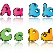 Cartoon alphabet letters on paper background - ABCD — Stock Vector