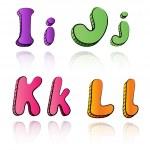 Cartoon alphabet letters on paper background - IJKL — Stock Vector