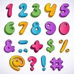 Cartoon 3d numbers set. — Stock Vector