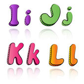 Cartoon alphabet letters on paper background - IJKL — Stock Vector