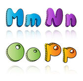 Cartoon alphabet letters on paper background - MNOP — Stock Vector