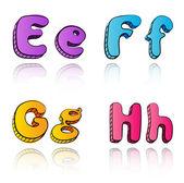 Cartoon 3d alphabet letters- EFGH — Stock Vector