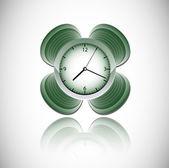 Horloge vecteur vert — Vecteur