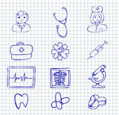 Medical and hospital symbols and icons — Stock Vector