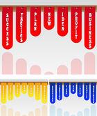 Etiquetas para diversas aplicaciones, variantes del color — Vector de stock