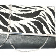 Zebra leather female clutch bag on a white background — Stock Photo
