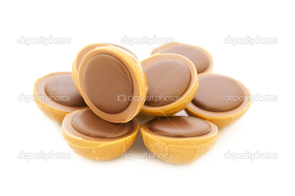 Chocolate filled Caramel toffee isolated on white background — Stock ...