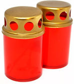 Two red icon-lamps — Stock Photo