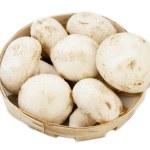 Champignon mushroom in basket over white background — Stock Photo #9410778