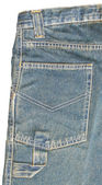 Big back pocket of blue jeans close-up — Stockfoto