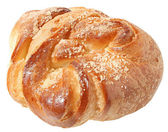 Sweet bun close up on a white background — Stock Photo