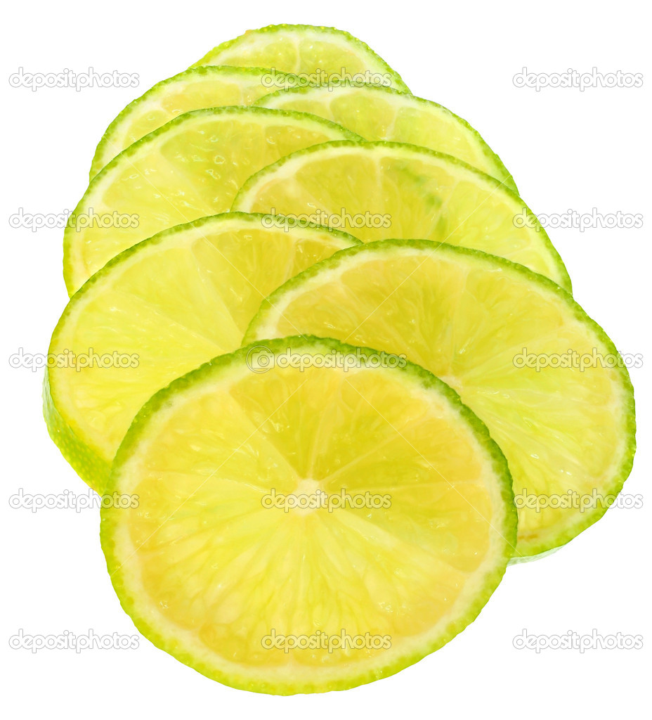 Fresh sliced lime on a white background.  Stock Photo #9190611