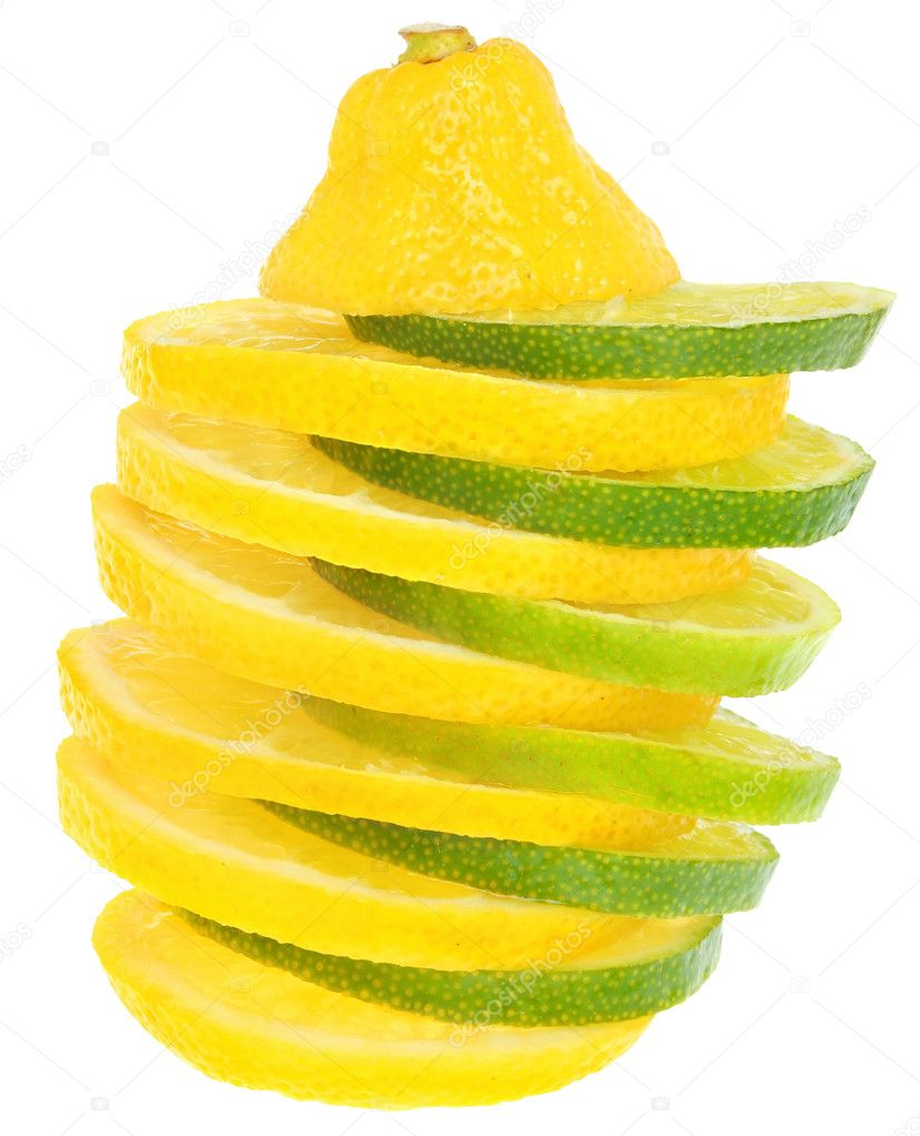 Sliced limes and lemons on a white background. — Stock Photo #9190619