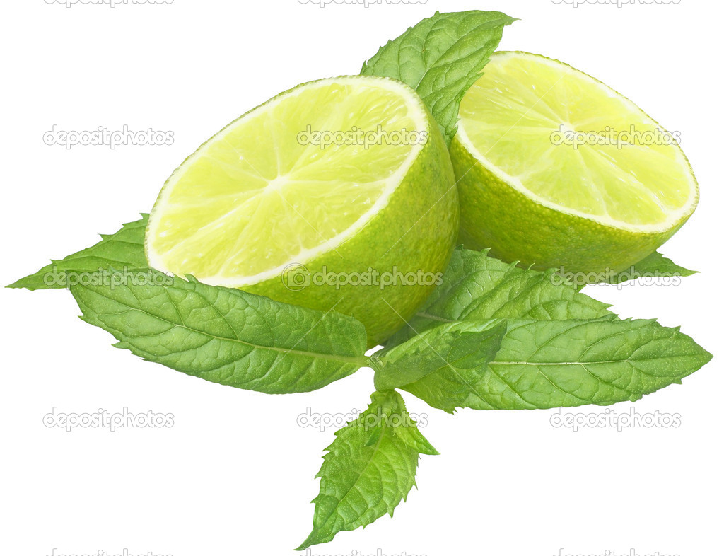 Sliced ​​lime with mint leaves on a white background. — Stock Photo #9190852