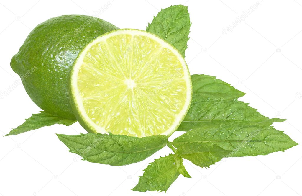 Sliced ​​lime with mint leaves on a white background. — Stock Photo #9190854