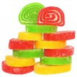 Tower colored fruit candy isolated — Stock Photo #9440311