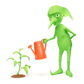 Elf and plant — Stock Photo