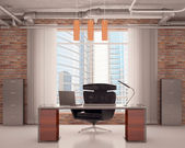 Office with a black chair — Stock Photo