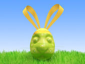 Easter green egg - a hare — Stock Photo