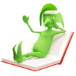 The magic elf on the book — Stock Photo