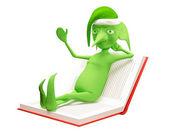 L'elfo magico sul libro — Foto Stock