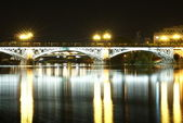 Romantic panorama of Seville riverside at down under the Triana Bridge, the — Stock Photo