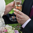 Bride and Groom with Champagne - Stock Photo