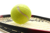 Tenis ball and racquet — Stock Photo