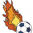 Flaming football ball — Stock Vector